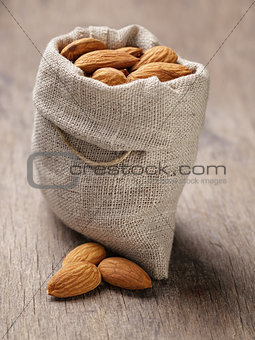 small sack bag full of almonds