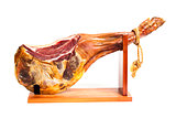 Jamon serrano. A Spanish ham isolated over white
