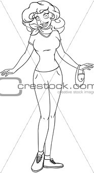 African Teenage Girl In TShirt And Pants Coloring Page