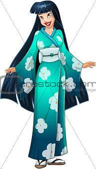 Asian Woman In Blue Kimono