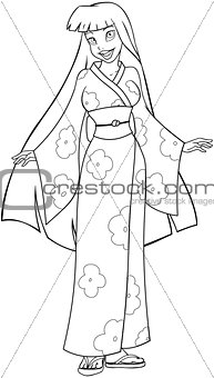 Asian Woman In Kimono Coloring Page