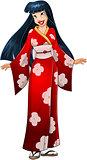 Asian Woman In Red Kimono