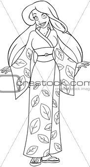 Caucasian Woman In Kimono Coloring Page