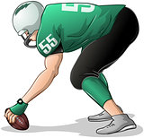Football Player Kneels and Holds Ball Side View