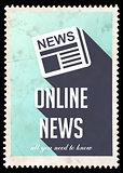 Online News on Blue in Flat Design.