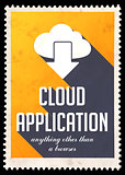 Cloud Application on Yellow in Flat Design.