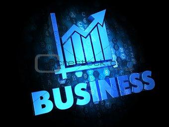 Business Concept on Dark Digital Background.