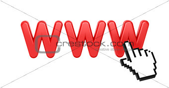 WWW with Hand Cursor. Internet Concept.