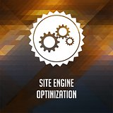 Site Engine Optimization on Triangle Background.