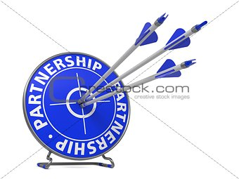 Partnership Concept in Blue Color - Hit Target.