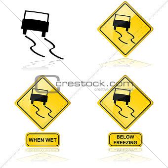 Slippery road