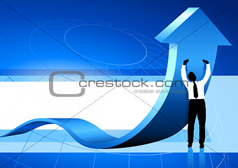 Business Man holding up arrow blue background