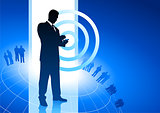 businessman on phone business internet background