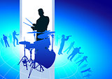 Drums Player with Musical Band Background