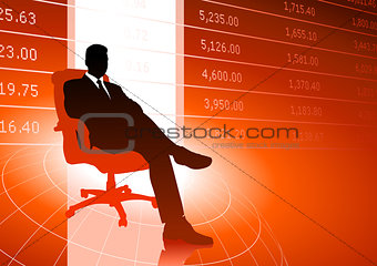Business executive background with stock market data