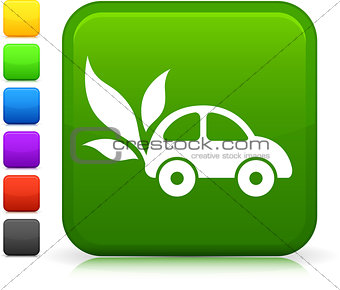green car icon on square internet button