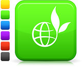 green globe icon on square internet button