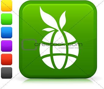 green globe icon on square internet button