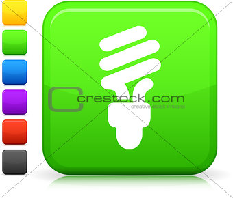green electric lightbulb  icon on square internet button