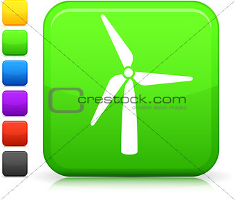 green wind power icon on square internet button