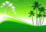 palm trees green background