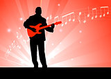 Guitar Player on Red Background
