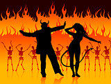devils dancing in hell background with skeletons and fire
