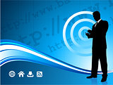 Wireless internet background with modern businessman