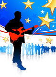 Guitar player on patriotic background