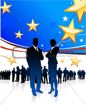 Business People on United States of America elections background