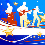 Musical Band on Patriotic Background