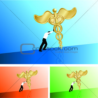Business man pushing medical caduceus uphill