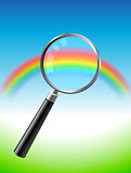 colorful rainbow under magnifying glass