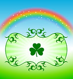 St. Patrick's Day Design elements on rainbow background