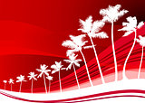 palm trees on abstract red background