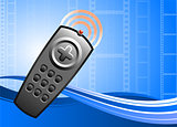 TV remote control on film background