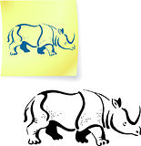 Rhinoceros drawing on post it note