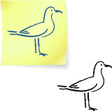seagull on post it notes