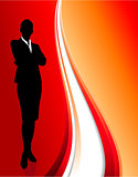 businesswoman on abstract red background