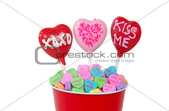 Valentine candy hearts in cup