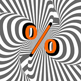 Design percentage sign. Striped waving line textured symbol
