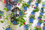 Blue Flowerpots and Flowers on a white wall with vintage lantern