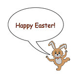 A funny cartoon Easter bunny rabbit with a speech bubble. Design