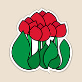 Vector illustration of red tulips.