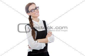 Beautiful young woman with glasses looking at the camera