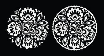 Folk embroidery with flowers - traditional polish round pattern in white