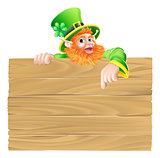 Cartoon Leprechaun Wooden Sign