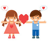 Girl and boy holding the same heart
