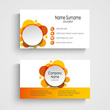 Modern orange round business card template