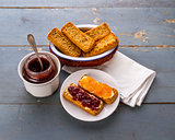 Breakfast: toasts with jam